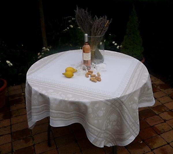Tischdecke Jacquard Baumwolle natur 160x160 cm Lagrange lin aus Frankreich Provence mit Teflonschutz