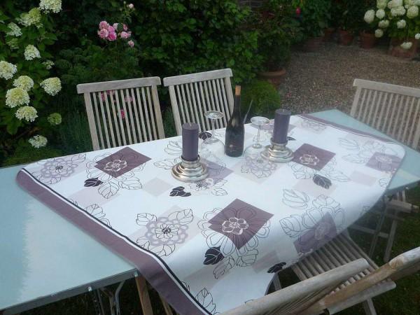 Tischdecke Provence 130x150 cm Blattmotive beige aus Frankreich