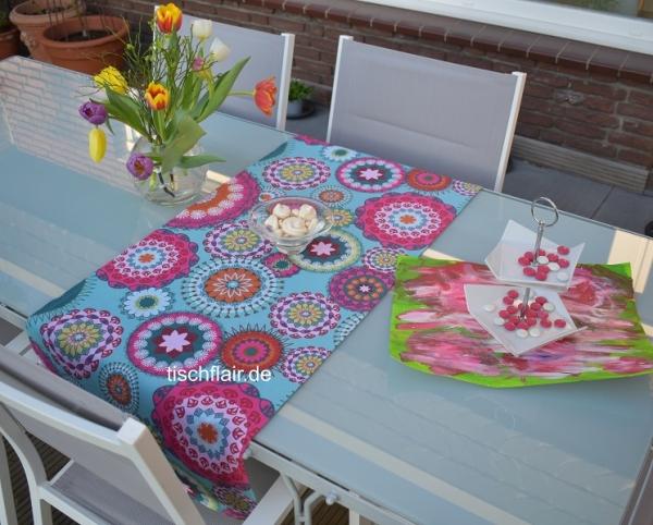 Ganz neue Töne! – Raffinierter Baumwoll-Tischläufer Linnea in Türkis, Pink und mehr