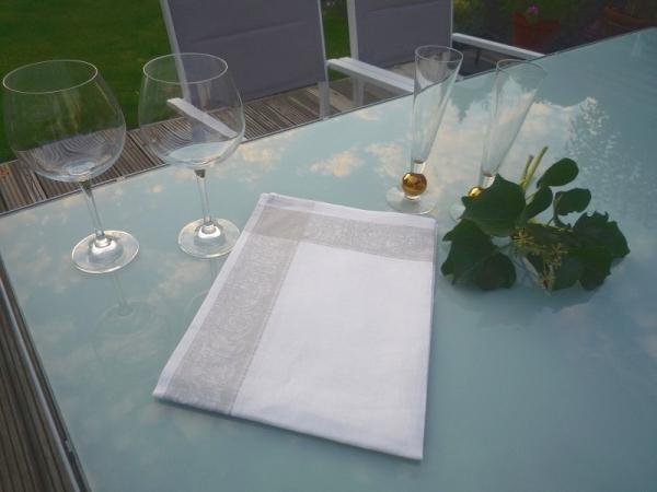 Geschirrtuch Jacquard Leinen Marne Blanc Gris