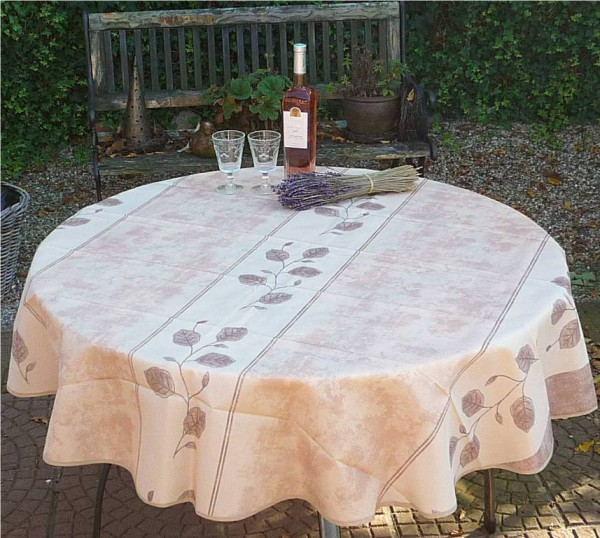 Tischdecke Provence 180 cm rund beige Rankenmotiv aus Frankreich bügelfrei