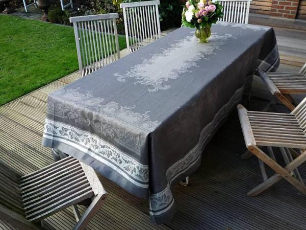 Tischdecke Jacquard Leinen 180x260 cm Royal gris mit Hohlsaum