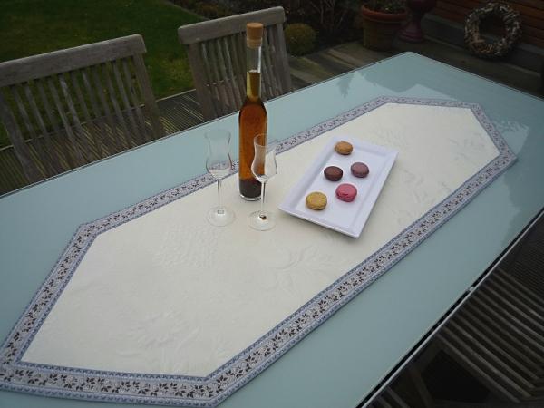Tischläufer Jacquard ecru DeLuxe 50x150 cm spitz Rose bleu Matelassé aus Frankreich Provence