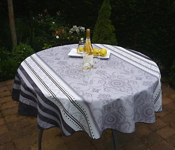Tischdecke Provence 160 cm rund grau weiß Ornamentmotiv aus Frankreich bügelfrei