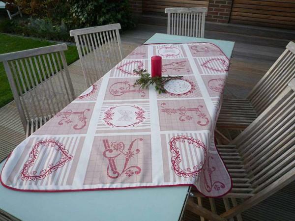 Tischdecke Provence 130x150 cm beige rot Monogramme aus Frankreich