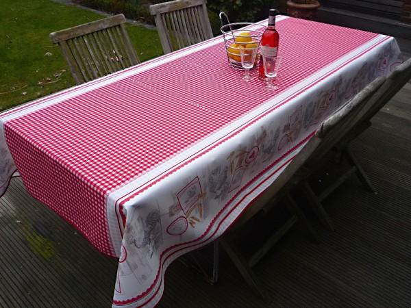 Tischdecke Provence 150x240 cm rot weiß mit Hühnermotiven aus Frankreich