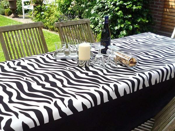 Tischdecke Provence 150x200 cm schwarz weiß Zebramuster aus Frankreich