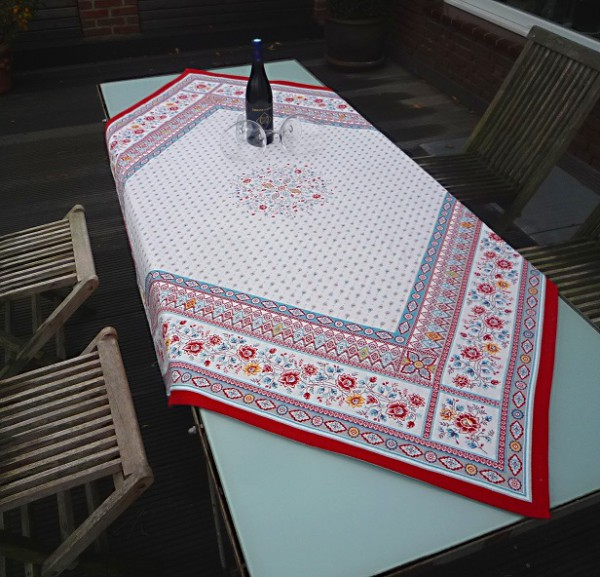 Wahres Glanzstück - Gobelin-Tischdecke Colmar in Rouge-rot und Bleu-blau