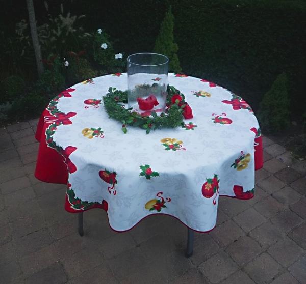 Tischdecke Provence 160 cm rund weiß rot Weihnachten aus Frankreich