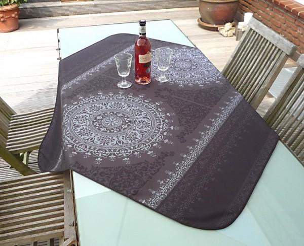 Tischdecke Provence 120x120 cm dunkelgrau Ornamentmotiv aus Frankreich