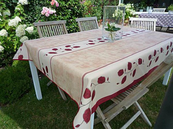 Tischdecke Provence 150x350 cm beige rot Rankenmotiv aus Frankreich