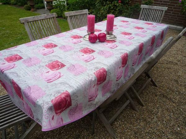 Tischdecke Provence 150x240 cm oval rosa Rosenmotive aus Frankreich
