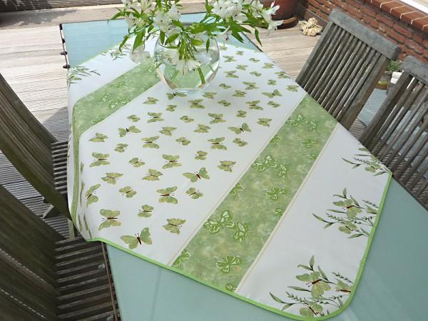 Tischdecke Provence 120x120 cm grün Schmetterlinge aus Frankreich