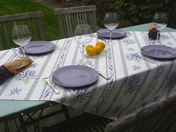 Tischdecke Provence Baumwolle 120x155 cm Lavande ecru aus Frankreich