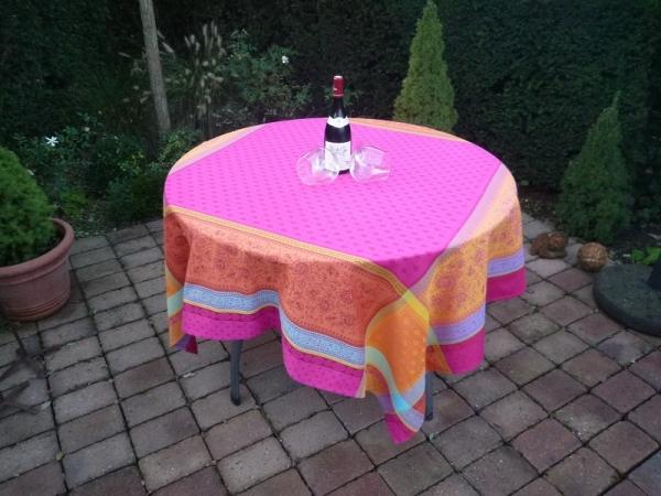 Tischdecke Jacquard Baumwolle 160x160 cm Féreol pink aus Frankreich Provence Teflonschutz