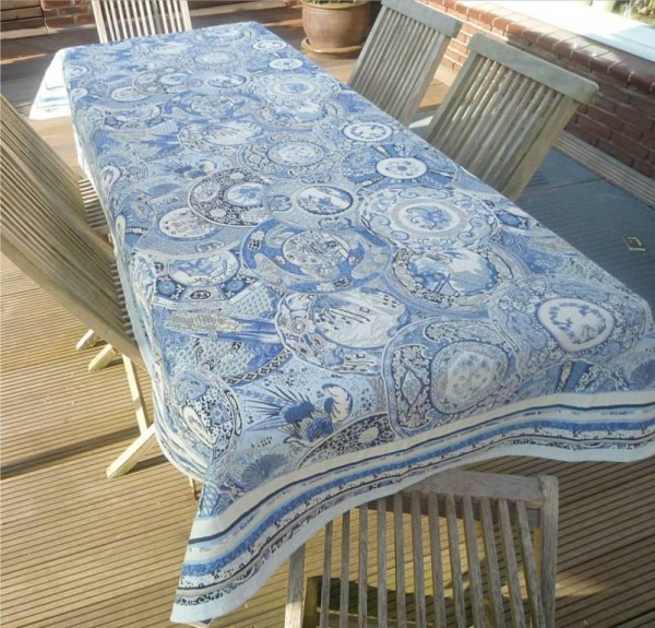 Tischdecke Provence 145x260 cm Jacquard Lilles bleu Gobelin-Art