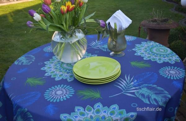 Blau mit einem Schuss Exotic! – Luftig blaue pflegeleichte Tischdecke