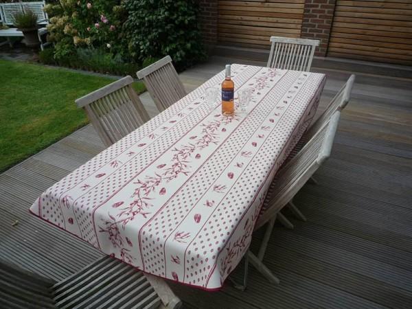 Tischdecke Provence 150x240 cm oval creme rot Zikadenmotiv aus Frankreich