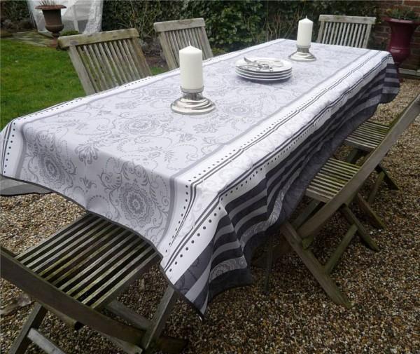 Tischdecke Provence 150x350 cm grau weiß Ornamentmotiv aus Frankreich