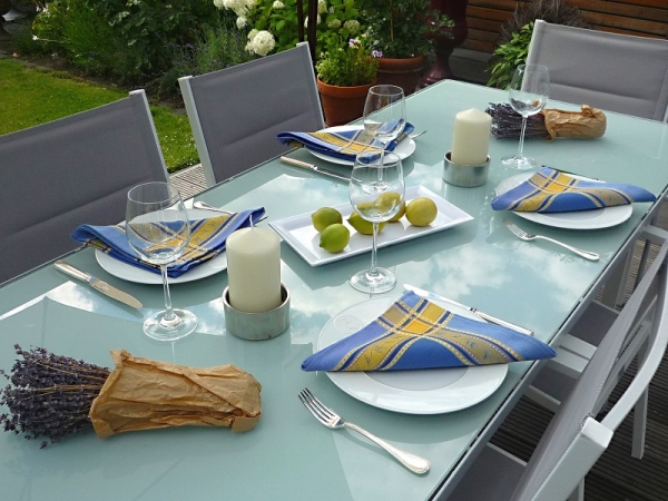 Blau oder Bleu...- Frische Jacquard-Serviette Valence bleu