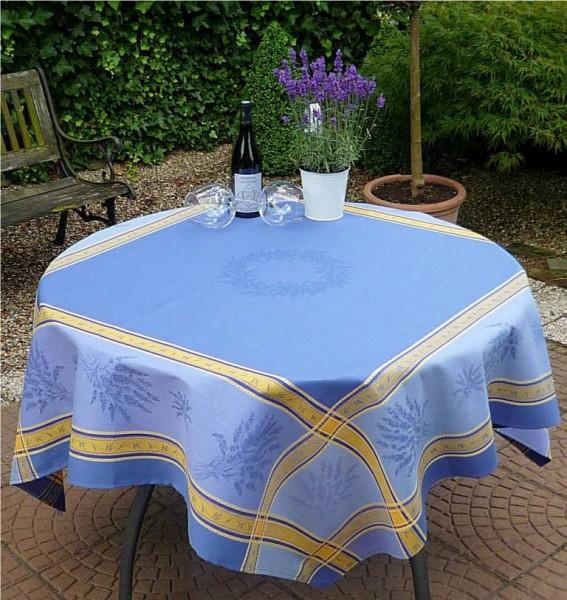 Tischdecke Provence 160x160 cm Baumwolle Jacquard Valence bleu