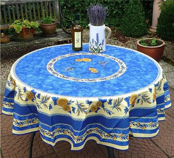 Sonnenblumen – einfach schön! – Pflegeleichte Tischdecke in traumhaftem Blau