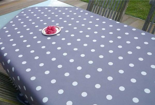 Tischdecke Provence 130x150 cm grau Punkte weiß aus Frankreich