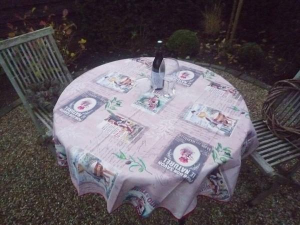 Tischdecke Provence 160 cm rund rosa Retromotive aus Frankreich