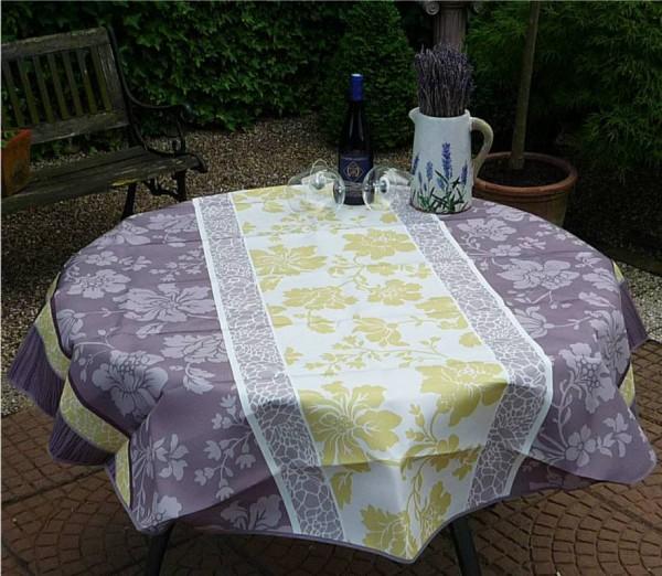Tischdecke Provence 160 cm rund grün taupe Blumenmotive aus Frankreich
