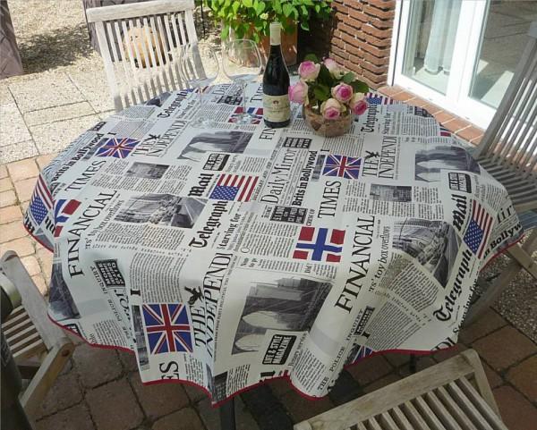 Tischdecke Provence 160 cm rund weiß Zeitungsmotive aus Frankreich