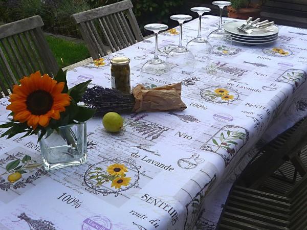 Tischdecke Provence 150x240 cm weiß hellgrau Zitronen Lavendel aus Frankreich