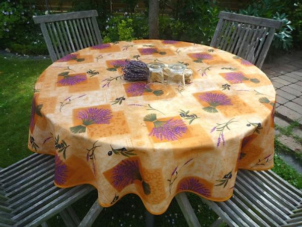 Salut Lavendel! – Fleckabweisende Tischdecke in terra mit Lavendel