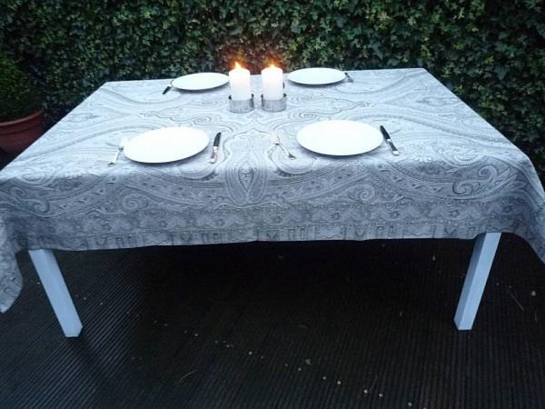 Tischdecke Provence 160x210 cm Baumwolle Jacquard Gobelin Paisley gris