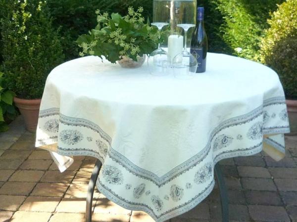 Einfach de luxe – Elegante Matelassé-Tischdecke Rose ecru florale Gris-Grau