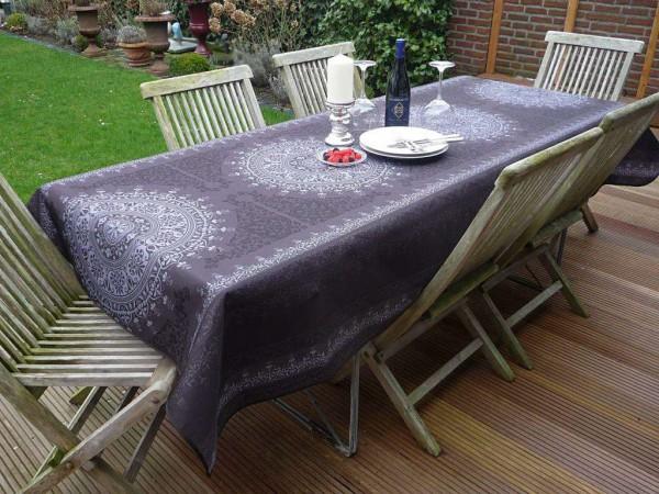 Tischdecke Provence 150x240 cm dunkelgrau Ornamentmotiv aus Frankreich bügelfrei