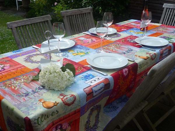 Tischdecke Provence 150x300 cm rot blau Oliven Zitronen aus Frankreich