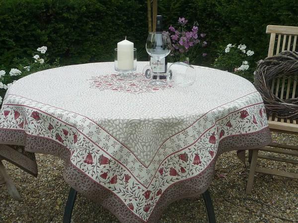 Tischdecke Provence 145x145 cm Jacquard Filigran taupe rouge Gobelin-Art