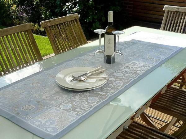 Tischläufer Provence 50x160 cm Baumwolle Jacquard Cassis bleu