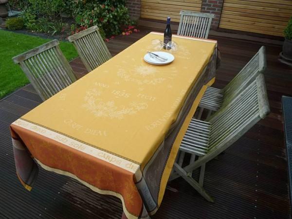 TISCHDECKE Provence 160x350 cm Baumwolle Jacquard Soleil terrakotta