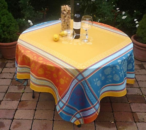 Tischdecke Jacquard Baumwolle gelb 160x160 cm Lagrange curry aus Frankreich Provence Teflonschutz