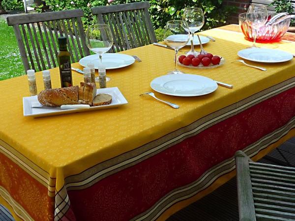 TISCHDECKE Provence 160x250 cm Baumwolle Jacquard Mercier jaune rouge