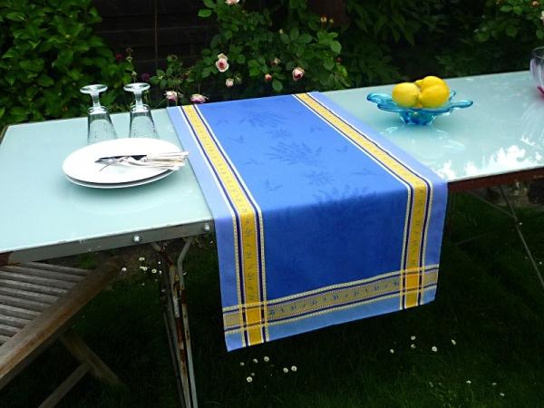 Tischläufer Provence 50x150 cm Baumwolle Jacquard Valence bleu