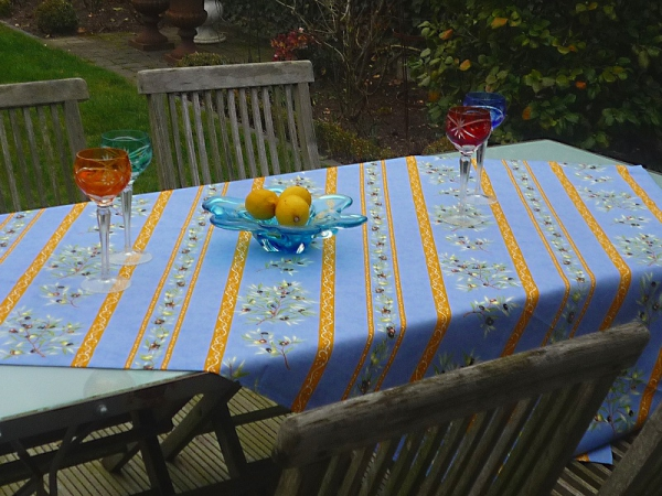Tischdecke Provence Baumwolle 120x155 cm Oliviers bleu aus Frankreich