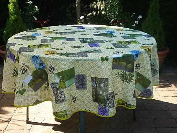 Tischdecke Provence 180 cm rund Olivenmotive grün aus Frankreich