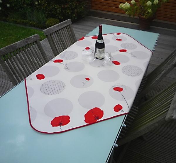 Tischdecke Provence 120x120 cm weiß Mohnblumen aus Frankreich