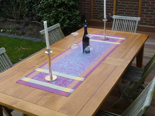Spiel mit Lila... - Extravaganter Leinen-Tischläufer Richelieu lilas