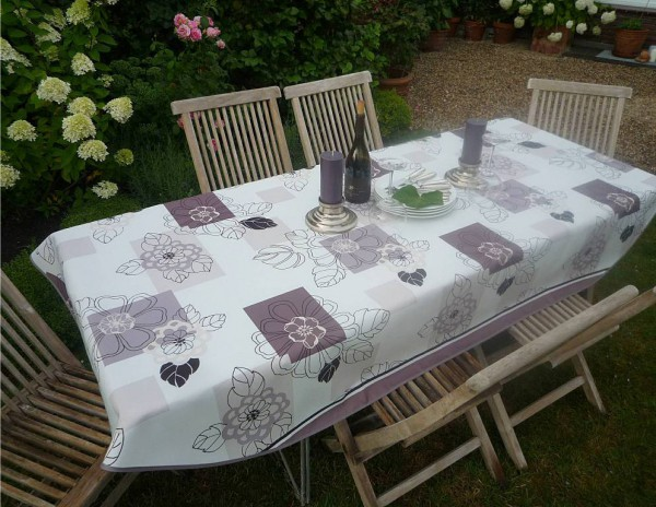 Tischdecke Provence 150x240 cm oval Blattmotive beige aus Frankreich