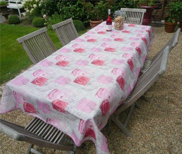 Tischdecke Provence 150x240 cm rosa Rosenmotive aus Frankreich