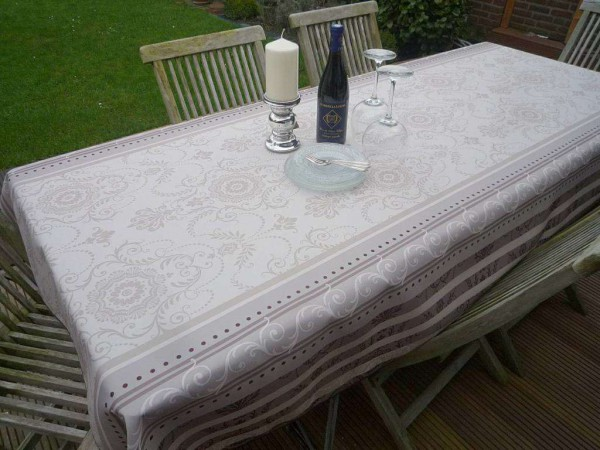 Tischdecke Provence 150x200 cm creme grau Ornamentmotiv aus Frankreich