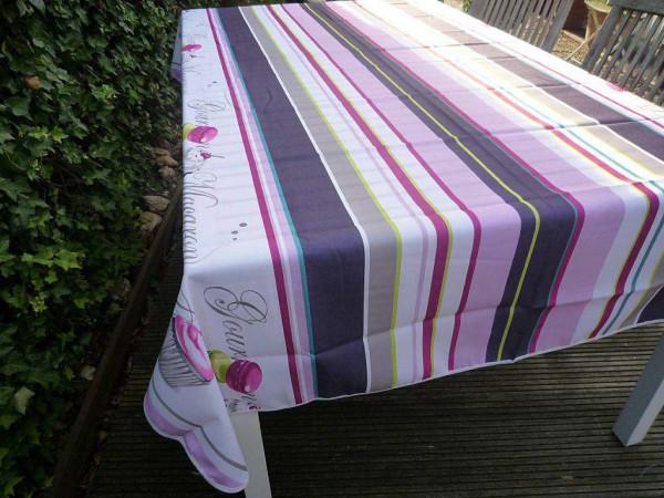 Tischdecke Provence 150x240 cm lila weiß Macaronmotiv aus Frankreich